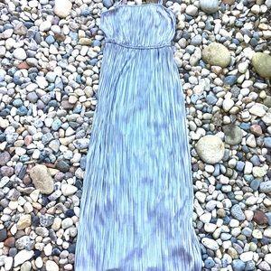 Metallic Silver Stretchy Maxi Dress Womens Medium